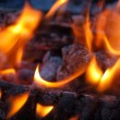 Background of Flames and Glowing Embers in a Campfire — Stock Photo #4581669
