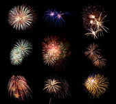 Long Exposure of Fireworks Against a Black Sky — Stock Photo