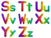 Letters S T U V W X Y Z with a Wooden Rainbow Background — Stock Photo