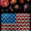 Stock Photo: Fireworks in Bckground of Steel Plated AmericFlag