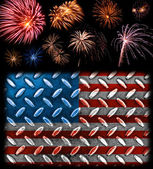 Fireworks in the Bckground of a Steel Plated American Flag — Stock Photo