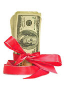 United States Currency Wrapped in a RIbbon as a Gift — Stock Photo