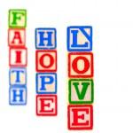 Colorful Alphabet Blocks FAITH HOPE and LOVE — Stock Photo