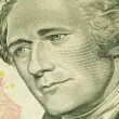 Macro of the US Ten Dollar Bill: Alexander Hamilton — Stock Photo