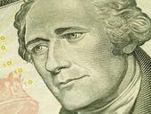 Makro Abd'nin on dolar Bill: Alexander Hamilton — Stok fotoğraf