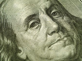 Macro of the US Hundred Dollar Bill: Benjamin Franklin — Stock Photo