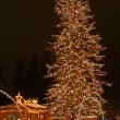 A large evergreen tree is decorated with from top to bottom with Christmas — Stok fotoğraf