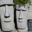 Stock Photo: Easter Island Statue Planters with Foliage Hair