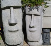 Easter Island Statue Planters with Foliage Hair — Foto Stock