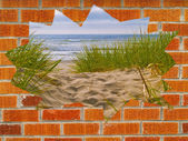 Sandy Path with Beach Grass Behind a Hole in a Brick Wall — Stock Photo