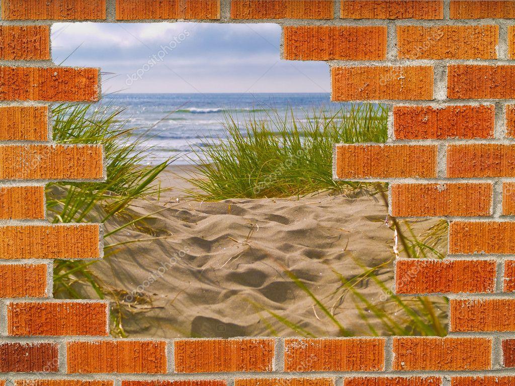 Sandy Path with Beach Grass Behind a Hole in a Brick Wall ...