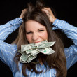 Frustrated Money Woman - Stock Photo