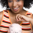 Stock Photo: Money Pig Woman