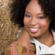 Woman in Hay — Stock Photo