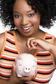 Money Pig Woman — Stock Photo