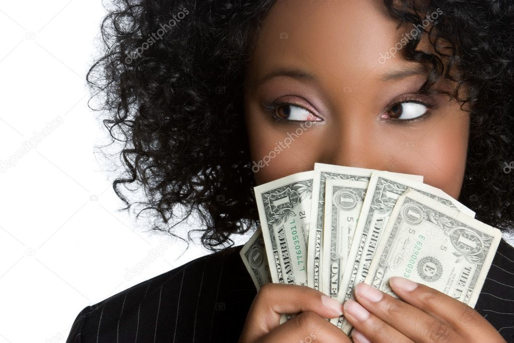 African american woman holding money — Stock Photo #4001805