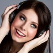 Headphones Music Girl — Stock Photo