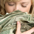 Woman Holding Money — Stock Photo