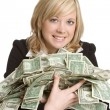 Businesswoman Holding Money - Stock Photo