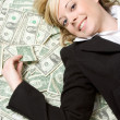 Smiling Money Woman — Stock Photo