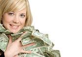 Girl Holding Money — Stock Photo