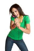 Teen Girl Singing — Stock Photo