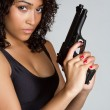Foto Stock: Gun Woman