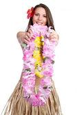 Tropical Lei Girl — Stock Photo