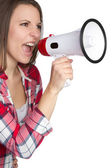 Megaphone Woman — Stock Photo