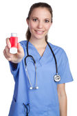 Nurse Holding Inhaler — Stock Photo