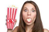 Girl Eating Popcorn — Stock Photo