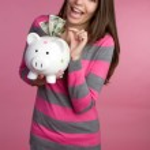 Piggy Bank Woman — Stock Photo