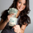 Stock Photo: Woman Holding Money