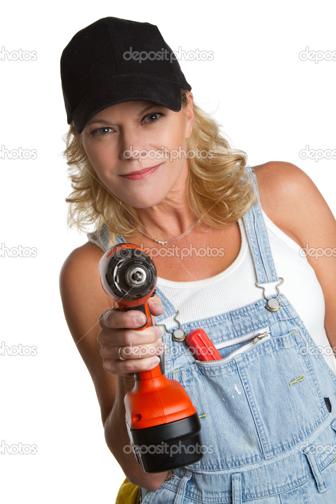Isolated woman using power tools — Stock Photo #4932311