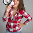 Megaphone Bullhorn Woman — Stock Photo