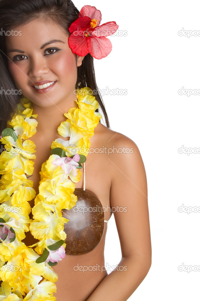 Beautiful hawaiian tropical woman smiling — Stock Photo #5206658