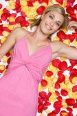 Rose Petals Woman — Stock Photo