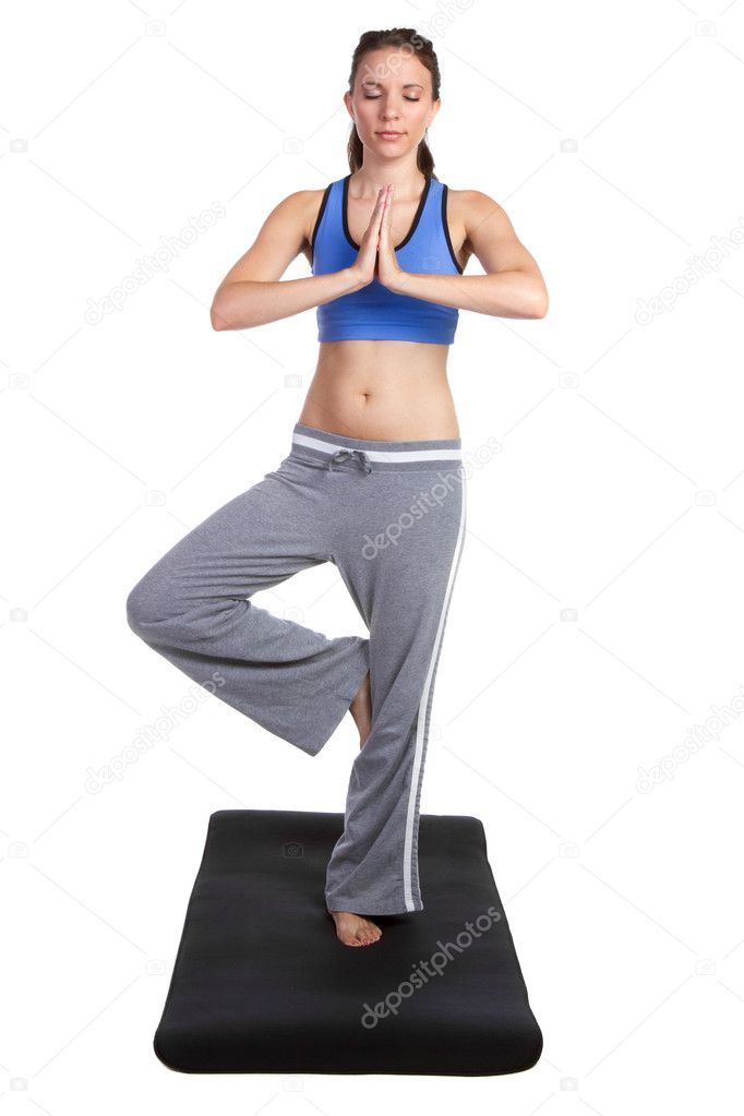 Isolated young yoga fitness woman — Stock Photo #5307740