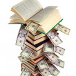 Stockfoto: Book and money isolated on white