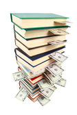 Book and money isolated on white — Stockfoto