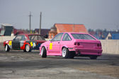 Pink race drift car on track — Stock Photo