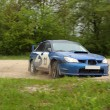 Blue race car on rally competition — Stock Photo