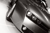 Car on exhibition, headlight close-up — Stock Photo