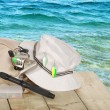Closeup of spinning fishing equipment on a dock — Stock Photo #4174923