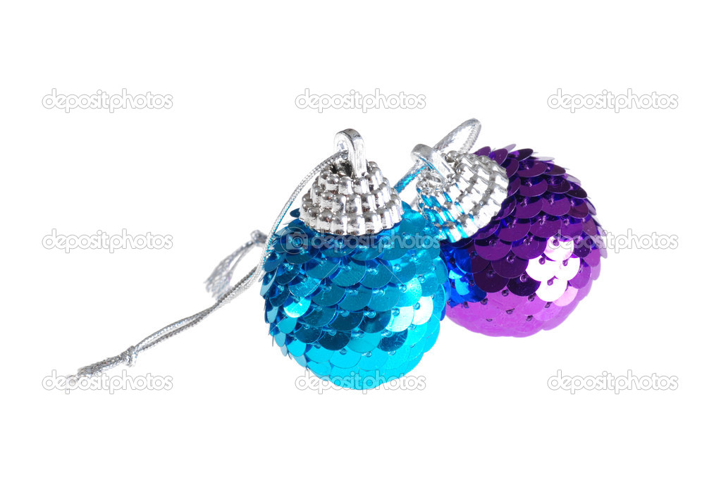 Isolated blue and purple christmas ornament on white background   Stock Photo #4174697