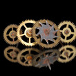 Four old rusty clock gears — Stock Photo