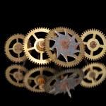 Four old rusty clock gears — Stock Photo