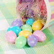 Closeup spilled easter eggs and colorful basket — Stock Photo