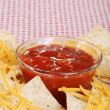 Stock Photo: Salsa nachos and cheese