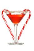 红色 martini 与拐杖糖两个 — 图库照片